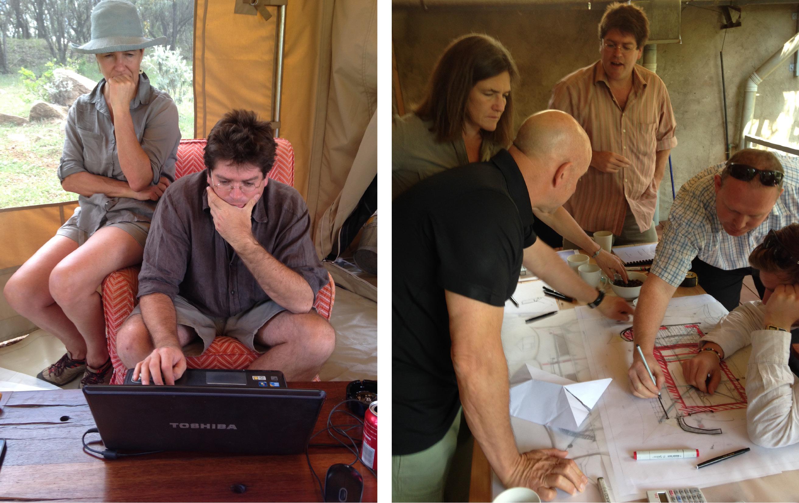 Jan Allan with Angama Mara's architect's Silvio Rech & Lesley Carstens.